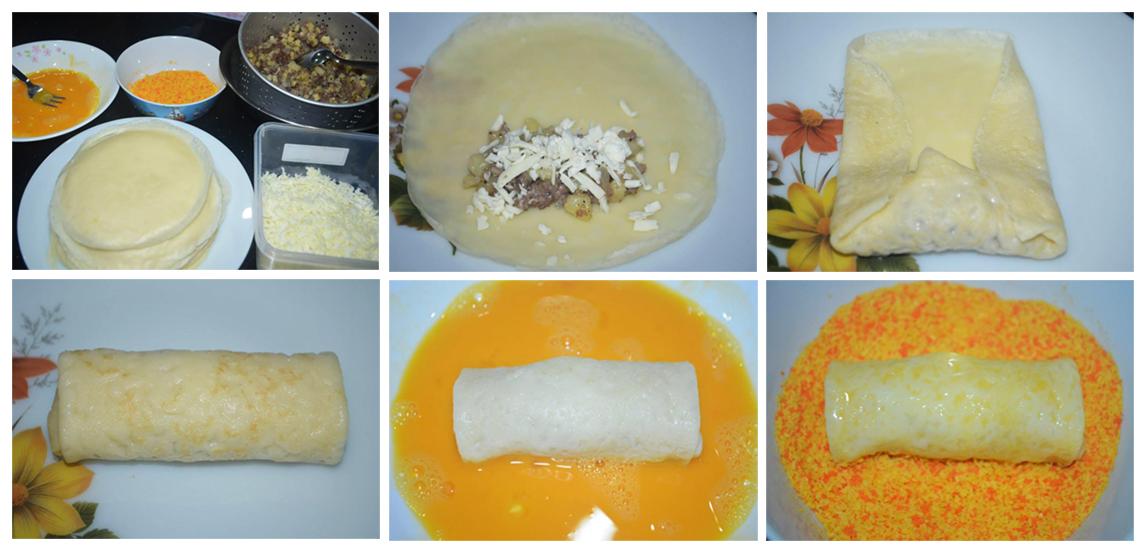 Cara menggulung risoles , selepas siap digulung , celup ke dalam telur dan selepas itu golekkan di dalam serbuk roti