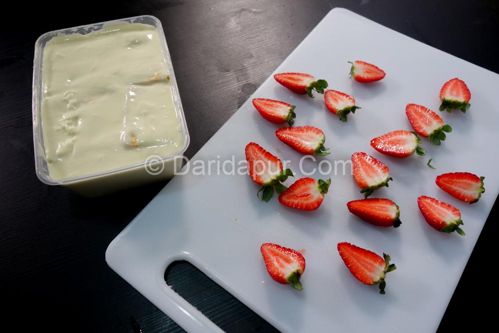 resepi cheesekut strawberi cheese meleleh