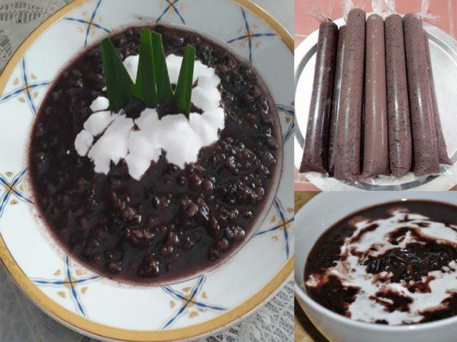 Resepi bubur pulut hitam ini memang sedap dimakan dengan santan pekat asing.Lagi terasa nikmatnya.Baki bubur pula dijadikan aiskrim.Memang licin habis.