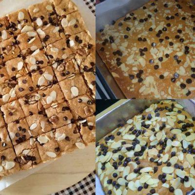 Nak dapatkan resepi congo bar yang wangi serta penuh dengan rasa coklat, anda kena ikut resepi ni.Saya suka letak almond flakes dengan coklap chip.Sedap.