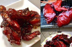 Ini baru betul resepi ayam bakar madu.Rasa madu dan bahan perapan lain masuk dalam isi ayam .Bakar pula dengan arang.Versi ayam goreng madu pun ada.Best