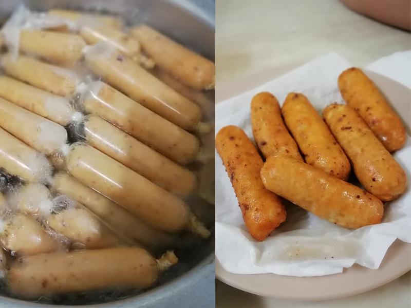 Memang sedap betul resepi roti sosej goreng ni.Dengan gunakan sosej ayam homemade dengan resepinya ada diberi, letak pula kepingan cheese.Meleleh roti nya