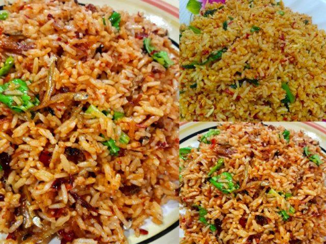 Sedapnya nasi goreng simple camni.Tumbuk cili kering dengan bawang lepas tu buh ikan bilis.Kalau xde ikan bilis guna ikan rebus goreng buh dalam nasi kan.