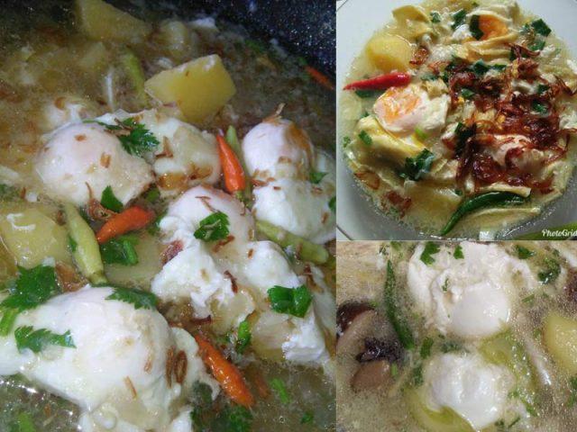 Resepi sup telur ni memang best kan bila ada fucuk, ubi kentang, lepas tu ada aroma bawang goreng. Makan pula dengan ikan goreng dan sambal, dah cukup sedap dah