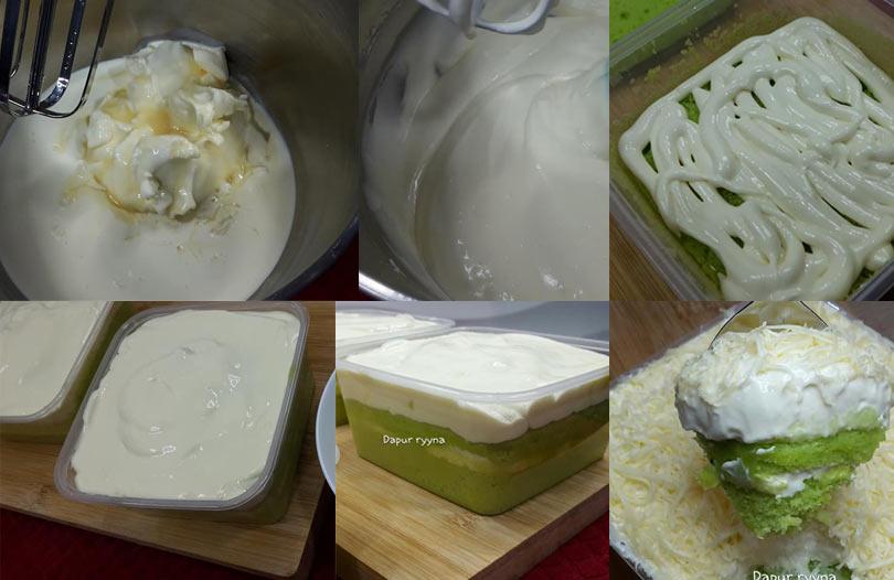 Wah sedap sangat resepi kek pandan cheese melimpah ruah ni. Kek pandan dia lembut sangat. Sedap makan dengan cheese yang mewah camni. Puas hati makan.