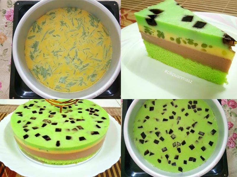 Apa yang best resepi puding kek ini, satu hasil tapi 3 perasa berbeza yang masuk ke dalam mulut. Lalpisan kek span lembut, puding gula melaka dan puding cendol