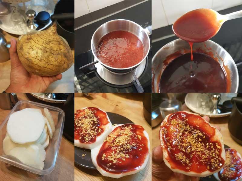 Sedapnya rasa sengkuang calit ni bila makan dengan sos merah. Kami ada berikan resepi sos.Sangat sedap rasa manis,masin,berlemak kan. Boleh buat lepas ni