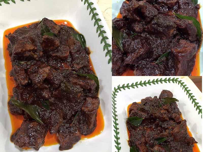 Kami nak berikan resipi daging masak hitam yang sesuai untuk dimakan dengan nasi kandar. Ada ayam goreng, sayur kubis dan daging ni, memang sedap la.