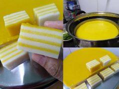 Sedapnya resepi kuih lapis labu ni. Tak guna sebarang pewarna tambahan. Warna kuning cantik datang daripada warna labu sahaja.